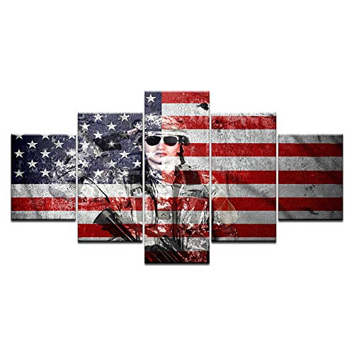 VGFGI Wandkunstbilder 5 abstrakte amerikanische Kriegersoldatenplakate der amerikanischen Flagge, Wohnkultur, Leinwandmalerei