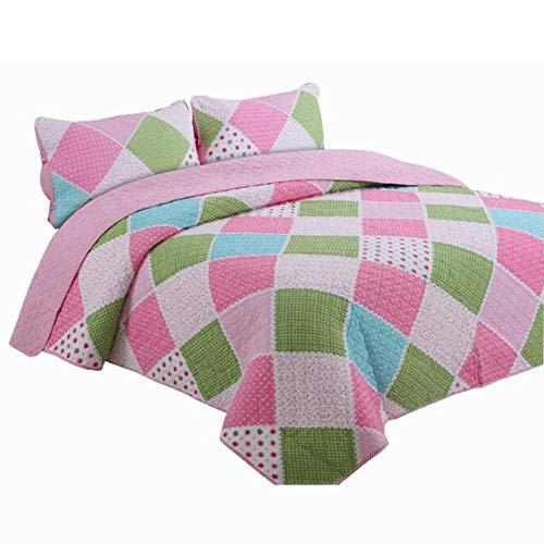 Rosa Bettdecke Gesteppte Tagesdecke Baumwolle Patchwork Quilt Double People Bettdecken Impression Bettdecken Bettwäsche 3-teiliges Set Decken 230X250CM Kissenbezüge 50X70CMX2