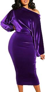 SOMTHRON Women's Sexy Velvet Sleeveless A Line Midi Cocktail Dress Off Shoulder Bodycon Evening Party Dress