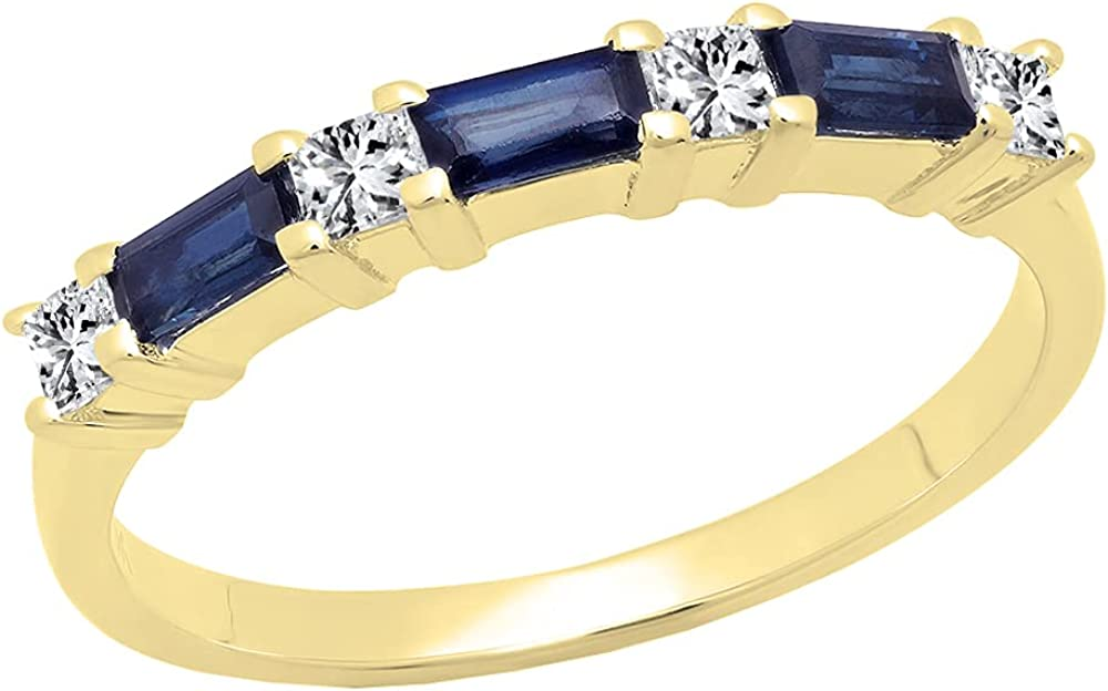 Dazzlingrock Collection 10K 4X2 MM Baguette Gemstone & Princess Diamond Ladies Wedding Band, Yellow Gold