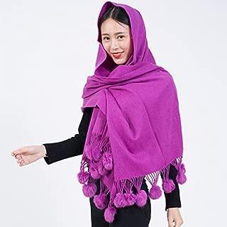 Wool Scarf Elegant Ladies Temperament Autumn And Winter Warm Rabbit Fur Ball Scarves Oversized Shawl Female