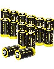 morpilot CR123A Batterijen Set van 16, 1500mAh 3V Lithium CR17345 Hoogwaardige Wegwerp Batterijen voor Zaklampen, Microfoons, Flitsers, Speelgoed enz. NIET voor Arlo Camera
