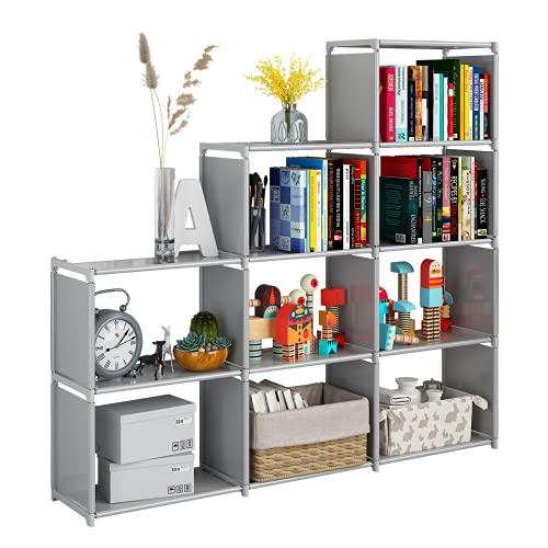 Jiuyotree Schrank-Organizer mit 9 modularen Würfeln, langlebiges Bücherregal, großes Fassungsvermögen, Wohnzimmer, Arbeitszimmer, Schlafzimmer, grau
