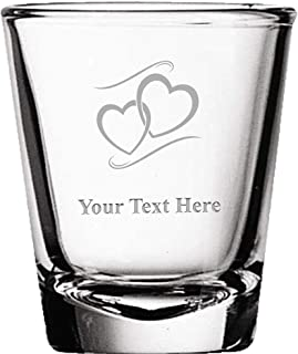 Custom Shot Glasses, Personalized Hearts Shot Glass Gift Engraved Prime