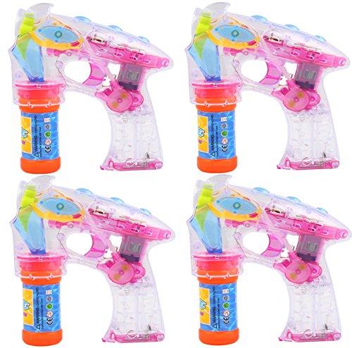 4 Seifenblasenpistole mit Flüssigkeit | Nachfüllbar | LED und Sound | Bubble Gun - Seifen Pistolen Set