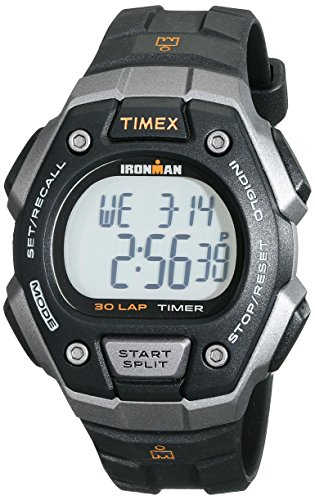 Timex Men's T5K8219J Ironman Classic Digital Silver-Tone Resin Watch with Black Band