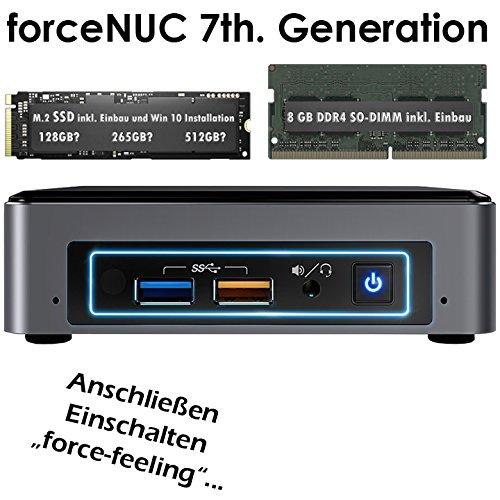 forceNUC | Intel-NUC7i3BNK | Intel Core i3-7100U | 8GB DDR4 | 128 GB SSD M.2 | Intel Iris Plus 640 Grafik | 7.1 Sound | LAN | Win 10 Pro | Mini-PC | VESA-Monitor-Halterung | HDMI 2.0 4K 60Hz