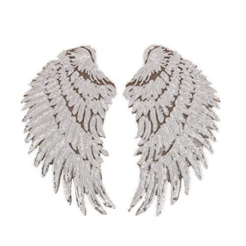 SUPVOX - Parches termoadhesivos, diseño de alas de ángel con lentejuelas, bordados, parches decorativos, color plateado