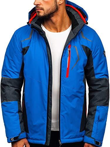 BOLF Herren Skijacke Winterjacke Steppjacke Kapuze Fell Sport Style HF Mountain BK085 Blau 3XL [4D4]