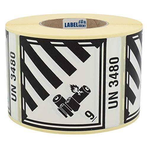 Labelident Gefahrgutaufkleber 100 x 120 mm - Klasse 9A - Lithium-Batterien - 1000 Gefahrgutetiketten auf 1 Rolle(n), 3 Zoll Kern, Papier weiß/schwarz, selbstklebend