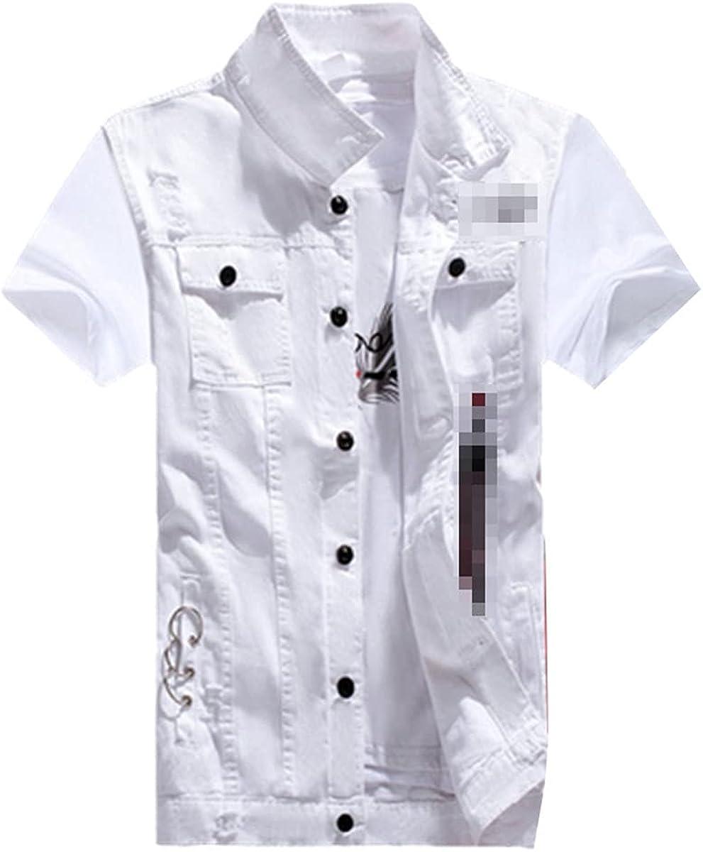Men's Boys Casual Denim Vest Sleeveless Vest Summer Jeans Pants Slim Fit 2 Piece Set Thin Style