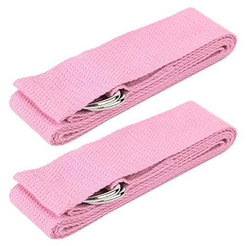 TANKE Yoga Estiramiento Cinturón Assist Stretch Pull Strap Beginner Back Trainer Equipo de Entrenamiento Rosa 2pcs