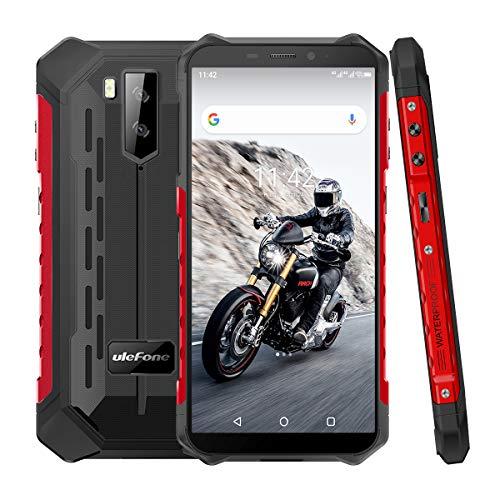 4G Outdoor Handys ohne Vertrag, Ulefone Armor X5 Android 9 Smartphones 5,5-Zoll Octa-Core 3GB + 32GB 5000mAh IP68/IP69K Wasserdicht Stoßfest Staubdicht, Dual SIM 4G-Netzwerk GPS NFC OTGg-Rot