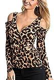 Mujer Camiseta de Leopardo Apretado Cuello en V Hombros Descubiertos Manga Larga Top Shirt...