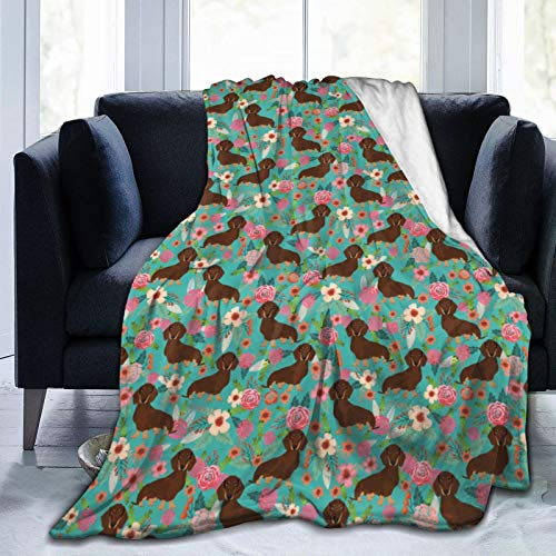 BUSHUO Manta de microfibra ultrasuave con flores de chocolate y marrón con flores de color turquesa, manta de lujo para ropa de cama, sofá y viajes