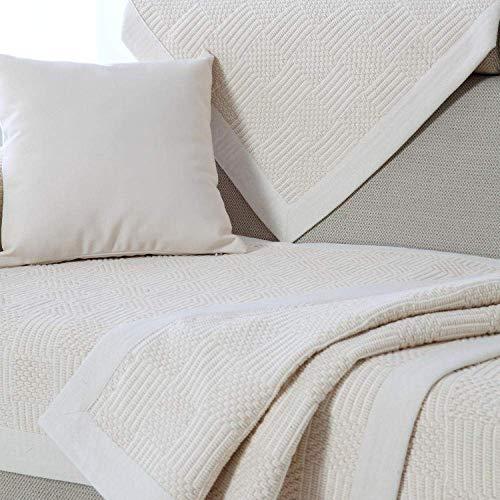 JXJ Funda de sofá de Lino de algodón Beige Puro Funda de sofá seccional Funda Antimanchas Resistente al Desgaste Protector de Muebles de Varios tamaños Fundas de sofá Antideslizantes, Blanco cre