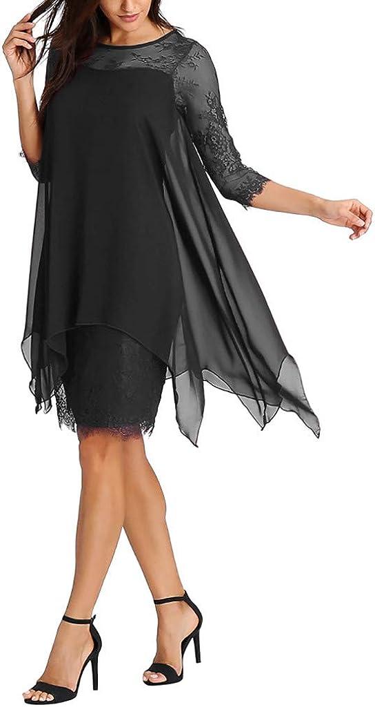 Women Chiffon Overlay Three Quarter Sleeve Lace Dress Oversize S-5XL