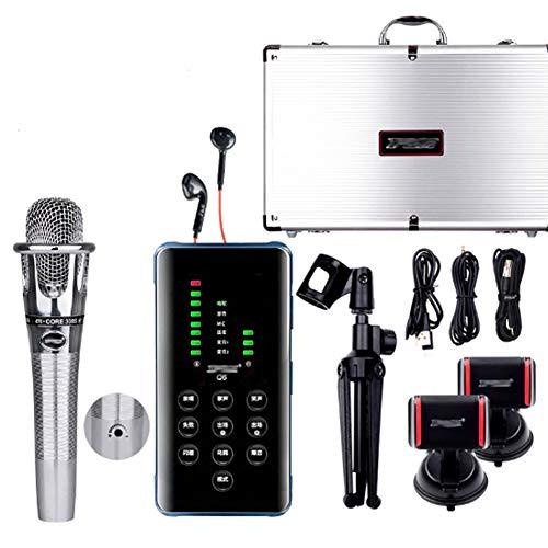 AERJMA Live Sound Card Kit, Portable Live Soundcard Set Voice Changer con molteplici effetti sonori, mobile Live Sound Card con scatola in alluminio grigio