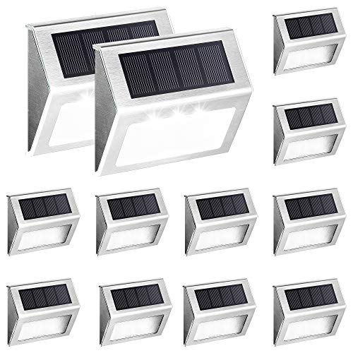 Solpex 12 Pack Solar Deck Lights,3 LED Solar Stair Lights,Outdoor LED Step Lighting Stainless Steel Waterproof Led Solar Lights for Step/Stairs/Pathway/Walkway/Garden-(Cold White)