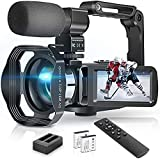 4K Video Camera Camcorder 48MP 30fps Ultra HD YouTube Vlogging Camera 18x Digital Zoom and IR Night Vision with Microphone, 2.4G Remote Control, Lens Hood, Handheld Stabilizer, 3.0' LCD Flip Screen