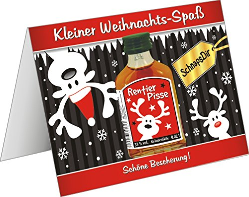 Weihnachtskarte mit Kräuterlikör lustige Grußkarte Weihnachtskarte als witziges Weihnachtsgeschenk mit Schnaps harzer Likör zum verschenken(Rentier- Pisse rot 22115)