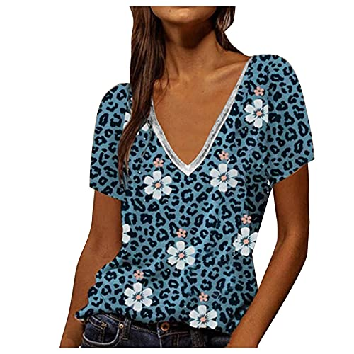 LalalukaBluseDamen OberteileSexy Blumen Leopard Druck V-Ausschnitt T-Shirt Frauen SommerT Shirt BluseTSshirtTshirtHemdLongshirtOberteilTunikaTop KurzarmshirtSweatshirtTee