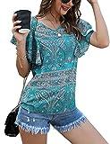 Irevial Blusas de Mujer Verano Elegantes Camisetas Mujer Manga Corta Cuello v T Shirt Mujer de Estampado Top Suelta Casual
