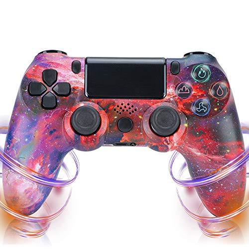 QLOVE Mando Playstation 4 Inalámbrico High Performance Dual Shock para PS4/Pro/Slim/PC con función de Audio, Mini indicador LED,Red Sky