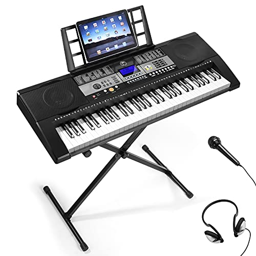 61 Keys Electronic Keyboards Piano Keyboard Electric Piano for Beginner, Touch Sensitive Weighted Keys Music Keyboard With Keyboard Piano Stand, Headphones, Microphone, LCD Screen, Music Rest