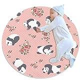 TIZORAX Alfombra de área Shaggy con diseño de panda y flor redonda para sala de estar, dormitorio, cuarto de bebé, decoración del hogar