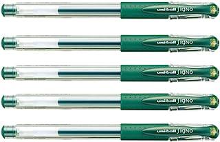 Uni Gel Ballpoint Pen Uni-Ball Signo Extra Fine 0.38mm, Green Black 5pcs