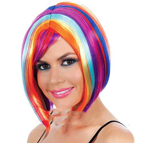 HAIRCARE Perruque Synthétique Courte De Femmes,Perruques Naturelles De Regard De Longueur Moyenne Couleur Mélangée-a