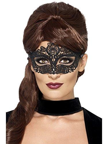 Smiffys Masque pour les Yeux à Filigrane en Dentelle Brodée, Noir