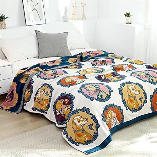 wjmss Manta de Toalla de algodón de Verano para el sofá de Viaje Oficina Aire Acondicionado Edredón Cubierta de Cama Ligera Suave 150 * 200 cm,Blanco