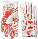 Under Armour Men's F5 Football Receiver Gloves, White/Dark Orange, Medium