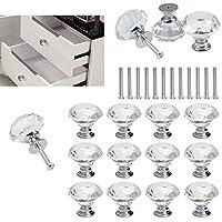 Tirador para muebles,BETOY 10x Pomos de cristal de 30 mm para puertas, muebles, armarios, cajones y tiradores con tornillo, transparente