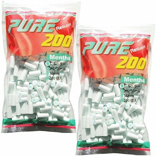 pure ピュアレギュラーメンソールフィルター 200個入りx2パック シャグ 喫煙具 手巻き