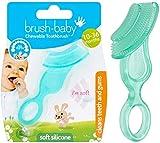 Brush-Baby weiche Kauzahnbürste für Babys, Kleinkinder | Babyzähne – Zahnen | Von 10-36 Monaten | Sanfte Reinigung der Zähne, Beruhigung von Zahnfleischschmerzen | Farbe Aquamarin, Pckg. mit 1 Stk.