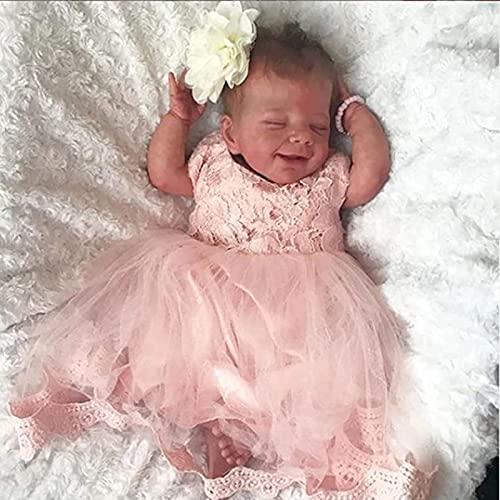 Reborn babypoppen Peuter Realistisch meisje 18 inch 46 cm Echt uitziende baby Vinyl ledematen en hoofd Zacht doek Gewogen lichaam met geboortekaartje en kleding Willekeurige,Boy
