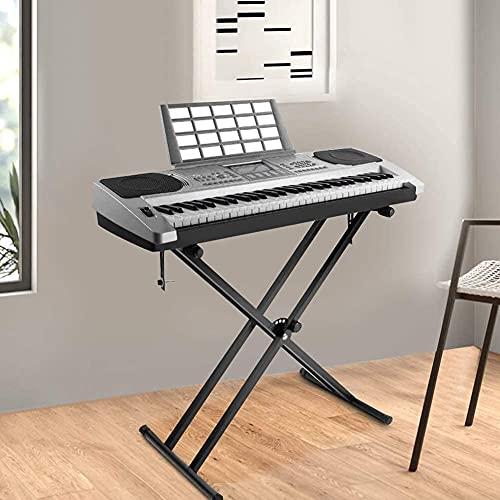 Doppelstrebiger X-Rahmen Keyboard-Ständer, Faltbarer Verstärkter Keyboard-Ständer, Höhenverstellbarer Ständer für Klavier, elektronische Keyboards für 61 bis 88 Tasten Keyboards und Digitalpianos