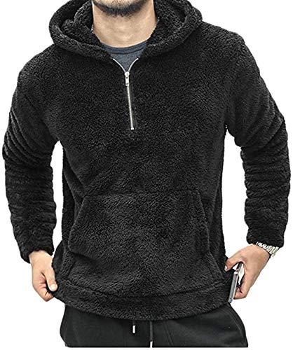 Sudadera de forro polar suave para hombre, con cremallera, cálida, con bolsillo de canguro, color negro, S