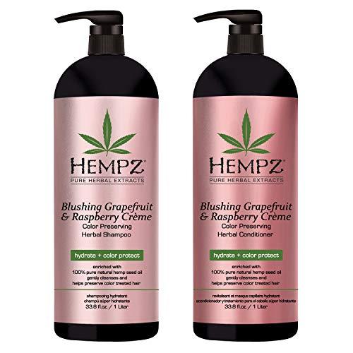 Hempz Blushing Grapefruit & Raspberry Creme Color Preserving Herbal Shampoo & Conditioner Set, 33.8 Fl Oz - Pure Hemp Seed Oil, Shea Butter & Ginseng