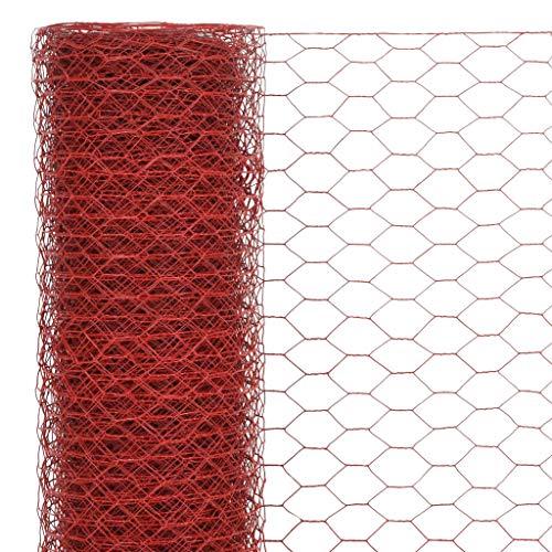 Festnight Mallas de Alambre Malla Hexagonal Valla Metalica, Longitud de Malla 13 mm Acero con Recubrimiento de PVC Rojo