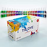Tie Dye Kit, Set of 26 Natural Colored Dye for Clothes and Fabric, DIY Kits for Kids, Women, Party Natural Color Dye with Rubber Bands, Gloves, Aprons, Table Cover for Arts Crafts Projects, 26X60ml