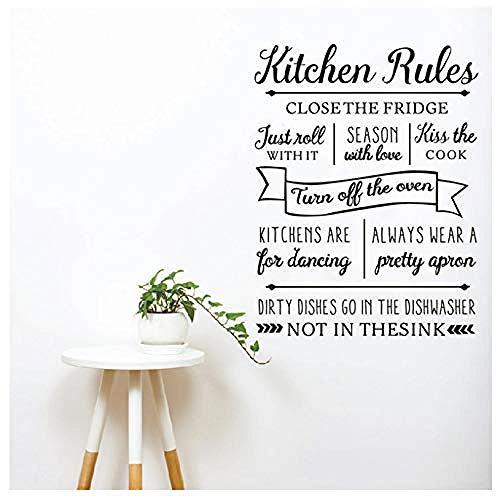 Moda moderna pegatinas de pared calcomanías de pared personalizadas reglas de cocina alfabeto calcomanías de pared cocina para sala de estar baile 56 * 73Cm