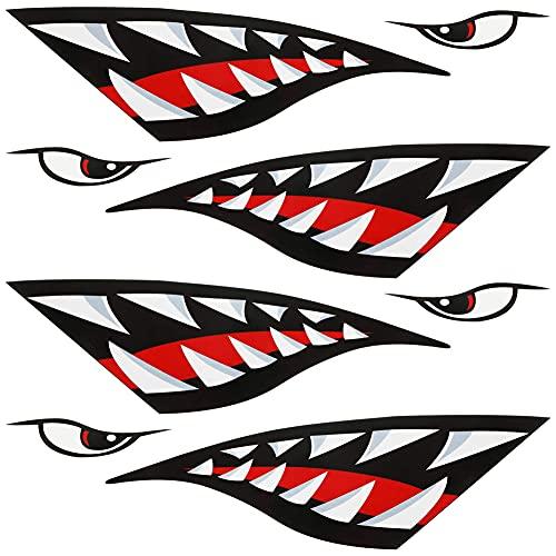 RainbowBeauty Kayak-Aufkleber Shark Zähne Mund Aufkleber Kayak Kanu Angeln Reflektierende Abziehbilder Auto Niedlichen Aufkleber wasserdichte Grafik Zubehör Für Angelboot Truck Dekoration 4 stücke