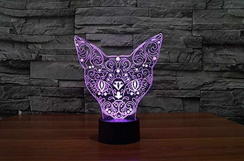 3D Glow LED Night Light 7 Changing Colors Optical Illusion Lamp Touch Sensor Perfect For Home Party Festival Decor Great Gift Idea Cat