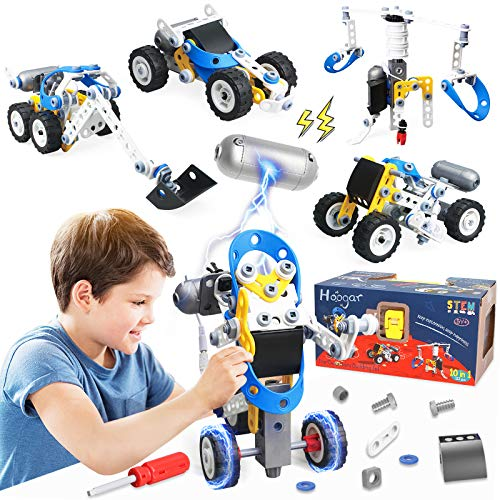 Hoogar STEM Building Toys Christmas Xmas Gifts for 6 7 8 9 10+ Year Old Boys, 10-in-1 Educational Engineering Toys Building Set, Motorized STEM Activities Erector Set in Gift Box