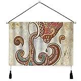 ELIENONO Póster colgante de lienzo,Estilo bohemio Acuario y símbolos Patrón vintage Impresión digital perchas decorativas para colgar en la pared con pergamino para el hogar,sala de estar,dormitorio