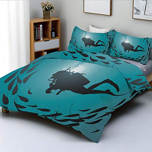 Duplex Print Duvet Cover Set King Size,Diver Surrounded with Jamb of Fishes Scuba Snorkel Aqualung Water SportsDecorative 3 Piece Bedding Set with 2 Pillow Sham,Dark Blue Aqua,Best Gift For Kids & Adu